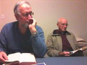 Bro Chuck Stokely & Bro. Randall Hunter listen during the Men's Bible Study